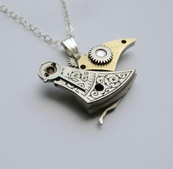 "Clockwork Bird Pendant ""Goldenwing"" Engraved Mechanical Bird Steampunk Necklace Elegant Balance Cock Sparrow Soldered Gear Robot Wing"