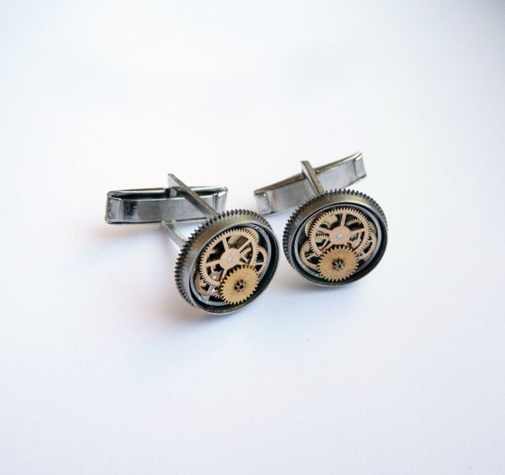 "Mechanical Cufflinks ""Model Twenty"" Father's Day Mancessories Soldered Mechanical Watch Gear Cuff Links Industrial Gift Mechanical Mind"