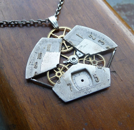"""Watch Face Pendant """"Dimension Gate"""" Reconstructed Watch Parts Necklace Recycled Upcycled Gear Art Steampunk by A Mechanical Mind"""