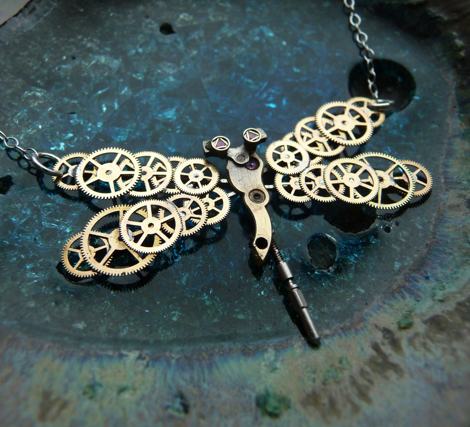 Steampunk Dragonfly Necklace Golden Dragonfly