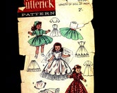 "Vintage 1950s Butterick doll's dress pattern, free shipping, wedding dress, day dress, bolero, hat, panties, petticoat, robe, 21"" doll"