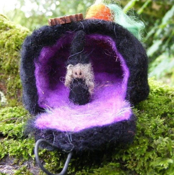 Needle Felted Witch In Her Home - Purple