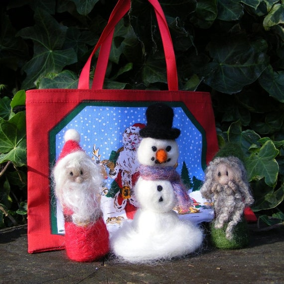 Needle Felted Christmas Decoration Set - Father Christmas, Elf and Snowman - With a Gift Bag