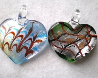 2 Glass Heart Pendants -  one is a beautiful turquoise, red silver shimmer Heart -  the other is Sliver, Copper and Black