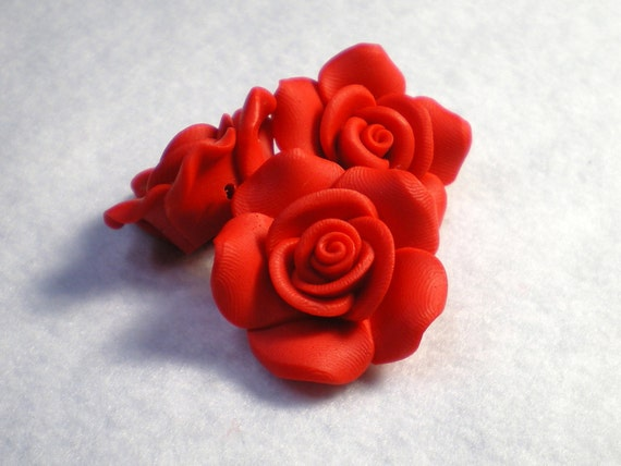 Red Hand Made Clay Flower Beads / FREE SHIPPING