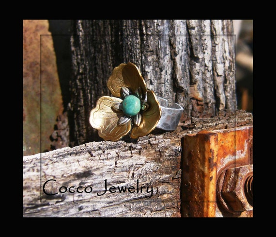 Antique Brass and Turquoise Flower Cuff Ring
