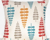 Red, orange, turquoise and taupe decorative pillow cover - Scandinavian look - 16x16, 18x18,  12x16, 12x18 - SELF-BACKED