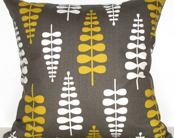 YELLOW and taupe BROWN decorative pillow - Scandinavian print - accent cushion - decorative pillow cover - pillow SALE