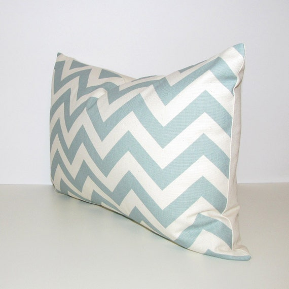 BLUE chevron pillow cover - SELF-BACKED - lumbar