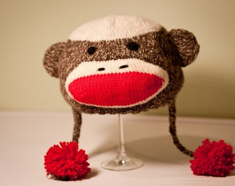Hand Knit Sock Monkey Hat - Teen or Adult size