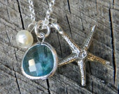 Aquamarine Sea Glass and Charm Necklace Sterling FREE Shipping