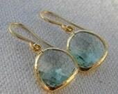 Light Green Amethyst Glass Earrings Framed in Gold