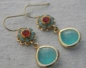 Aqua Glass and Swarovski Crystal Dangle Earrings in Gold, Jewelry, Wedding Jewelry, Bridesmaid GIft