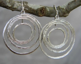 Silver Swirl Dangle Earrings Sterling Silver Earwires, Gift For Her