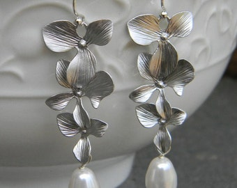 Silver Cascading Orchid and Swarovski Crystal  Dangle Pearl Earrings