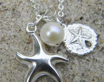 Starfish and Sand Dollar  Necklace, Charm Necklace,  Sterling Silver Necklace, Beach Charm Necklace