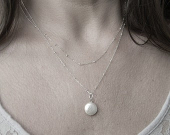 Coin Pearl on Silver Beaded Chain-Bride-Bridal-wedding