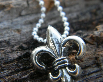 Fleur de lis Charm Necklace -Sterling Silver Necklace-Layering Necklace-Gift For Her
