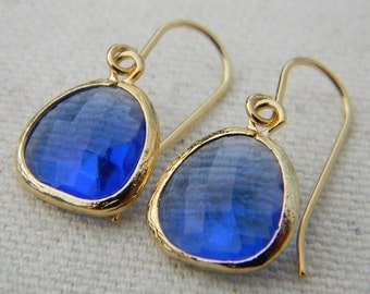 Colbalt Blue and Gold Earrings-Dangle Earrings-Drop Earrings-Bridesmaid Gift