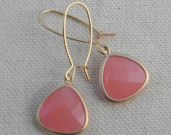 Pink and Gold Earrings on Kidney Wires, Bride, Bridal