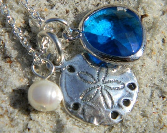 Sand dollar and Capri Blue Charm Necklace Sterling Silver