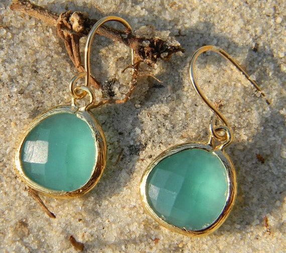 Aqua Earrings, Aqua Blue Dangle Earrings in Gold, Bridal, Wedding, Dangle Earrings . Mint Dangle Earrings, Bridesmaid Earrings, Gift For Her