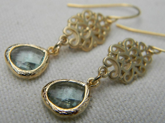 Green Amethyst and Gold Oriental Earrings, Dangle Earrings, Bridal, Bridesmaid Gift, Wedding Jewelry, Holiday Jewelry