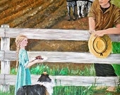 """Brother and Sister on the Farm -- Original Acrylic Painting """"Thinking of Big Brother"""" - boy girl farm horse dog pie"""