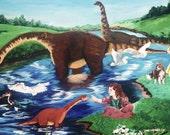 Dinosaur Fantasy Painting -- Original Artwork in Acrylic -- dinosaur painting -- fantasy painting