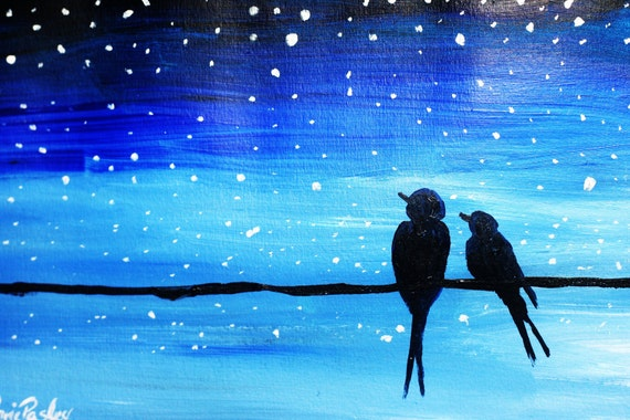 Original Painted Birds on Wire Star Gazing Card - Silhouette of birds on telephone wire original acrylic painted card