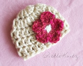 Chunky Beanie with Flower  Cream & Pink -- Newborn to 12M-- (Contact me for details about larger sizes)