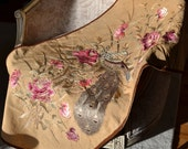 Extended Reserve for Diana 1/1/14 - Rare Antique Embroidered Peacock Wall Hanging