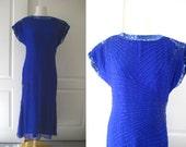 80s 90s electric blue Laurence Kazar beaded dress DEADSTOCK