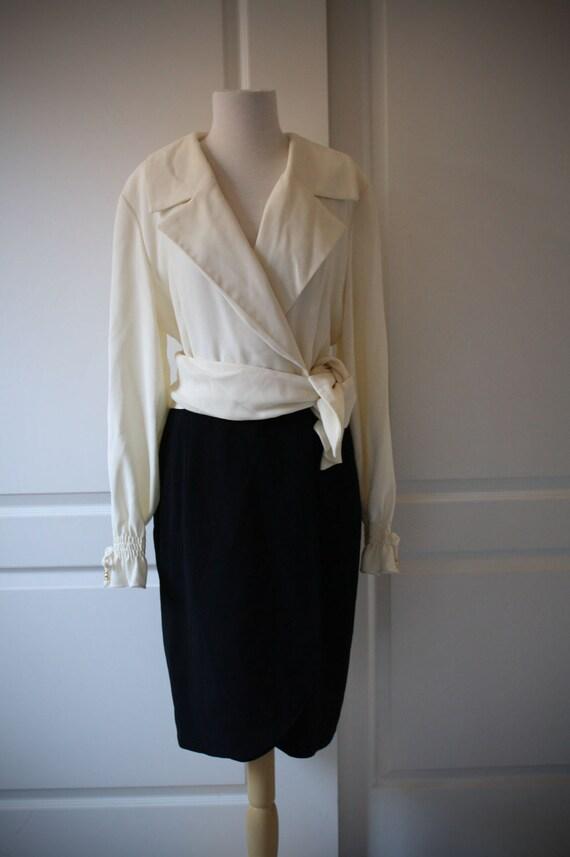 80s 90s Jones New York black and white wrap dress