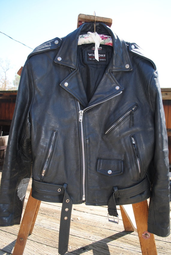RESERVED for H Vintage black leather unisex belted motorcycle jacket heavy duty snaps zippers