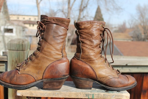 vtg. brown leather GRANNY boots kiltie lacer womens size 6 1/2 to 7