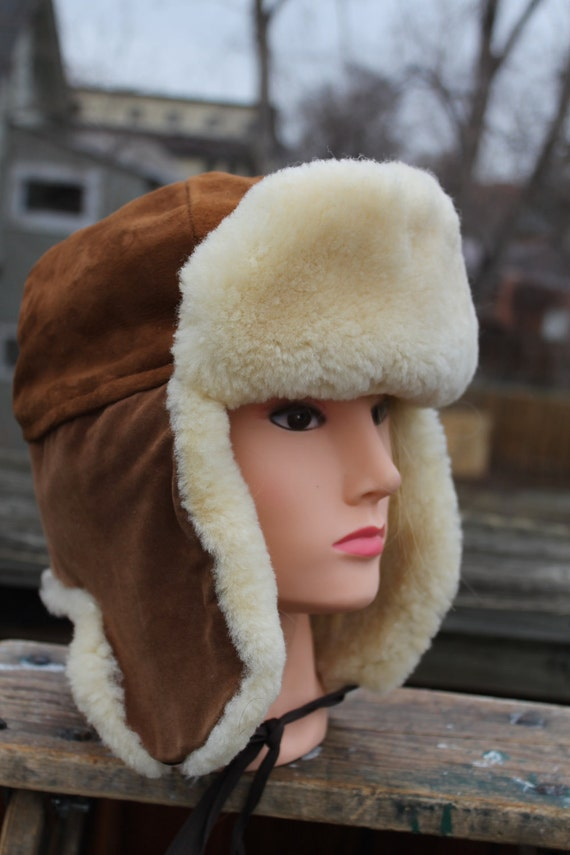 vtg. suede SHEARLING flap bomber style hat unisex