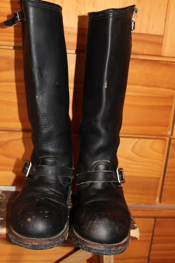 vtg. leather womens tall bIKER bOOTS steele toe womens size  8 1/2