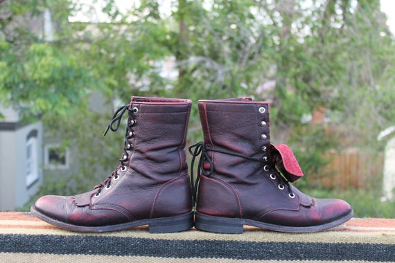vtg. justin leather kiltie lacer boots womens size 6 B