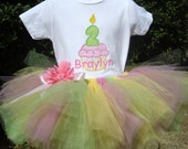custom personalized Birthday Cupcake Tutu & onesie set sizes 6m - 5T