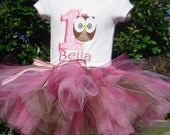 custom personalized Birthday Owl Tutu set sizes 12m - 5/6   pink & brown