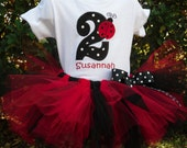 Red and Black  Ladybug custom personalized birthday tutu, onesie set sizes 6m - 5/6