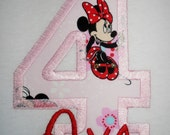 Design your own Letter or number Minnie Mouse applique t-shirt  - Personalized