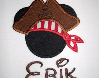 Mickey Mouse Pirate applique t shirt  - Personalized in Disney font your choice of colors  boy or girl