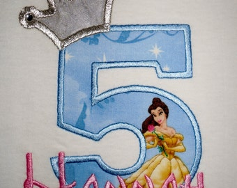 Design your own Birthday Number Princess Belle character with crown and crystals applique t-shirt  - Personalized free