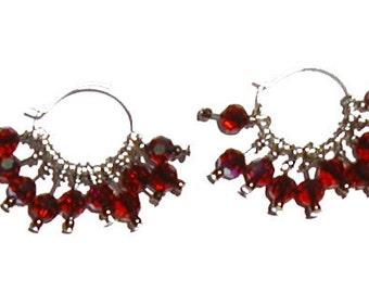 Swarovski Crystal  Hoop Earrings - Red
