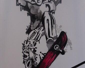 Illustration skater in words