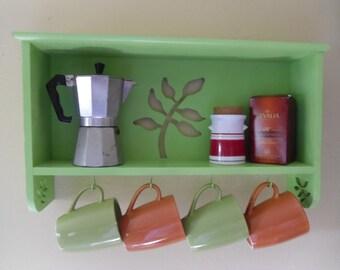 Vintage  Inspired Cedar Room Green Spring Organizer Spice Shelf Coffe Cup Holder,Open Shelving