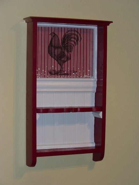 French country wall shelf,Kitchen Spice Rack,Vintage Inspired French Country Red , Rooster Rustic wall shelf