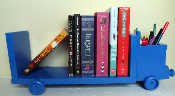 Blue Truck Wall And Desk Bookcase Book Stand Organizer